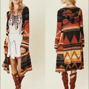 Free People Pueblo Yarn Lima Hoodie Cardigan sweater Aztec Southwestern Tribal M